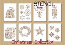 Σύνολο προτύπων σχεδίου διάτρητων Χριστούγεννα Στοκ φωτογραφίες με δικαίωμα ελεύθερης χρήσης