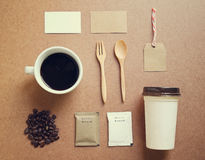 Σύνολο προτύπων ταυτότητας καφέ Στοκ Εικόνες