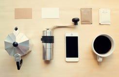 Σύνολο προτύπων ταυτότητας μαρκαρίσματος καφέ στοκ εικόνα