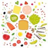 Σύνολο προϊόντων για τα σάντουιτς Στοκ Φωτογραφία