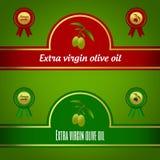 Σύνολο πρόσθετων παρθένων ετικετών ελαιολάδου - κόκκινο και πράσινος Στοκ εικόνα με δικαίωμα ελεύθερης χρήσης