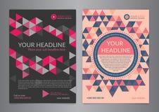 Σύνολο A5, A4 πρότυπο σχεδιαγράμματος σχεδίου ιπτάμενων επιχειρησιακών φυλλάδιων με το σχέδιο τριγώνων Παρουσίαση κάλυψης φυλλάδι Στοκ Εικόνα