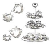 Σύνολο πρόχειρων φαγητών σε έναν δίσκο teatime Διανυσματικό σκίτσο Στοκ φωτογραφία με δικαίωμα ελεύθερης χρήσης