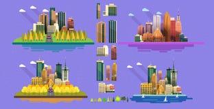 Σύνολο πόλεων εικονιδίων για το σχέδιό σας Επίπεδη διανυσματική απεικόνιση ύφους Στοκ φωτογραφίες με δικαίωμα ελεύθερης χρήσης