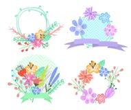 Σύνολο πλαισίων και ετικετών λουλουδιών Στοκ φωτογραφία με δικαίωμα ελεύθερης χρήσης