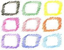 Σύνολο πλαισίων που χρωματίζονται με τα χρωματισμένα μολύβια Στοκ Εικόνα