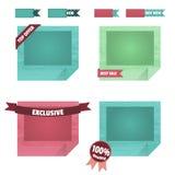 Σύνολο πλαισίων origami με τις κυρτές γωνίες Η συλλογή των στοιχείων σχεδίου στο ύφος του επιπέδου είναι για την περιοχή σας Στοκ Εικόνα