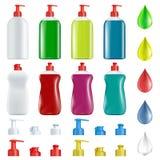 Σύνολο πλαστικών εμπορευματοκιβωτίων με το σαπούνι για τα πιάτα πλύσης Στοκ Φωτογραφίες