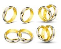 Σύνολο ρεαλιστικών διανυσματικών απεικονίσεων των χρυσών γαμήλιων δαχτυλιδιών με τη χάραξη Στοκ Φωτογραφία