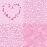 Σύνολο ρομαντικών άνευ ραφής σχεδίων και floral καρδιάς Στοκ εικόνα με δικαίωμα ελεύθερης χρήσης