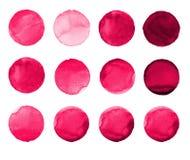 Σύνολο ροδαλού, καρμίνιο, κόκκινος χρωματισμένος χέρι κύκλος watercolor που απομονώνεται στο λευκό Απεικόνιση για το καλλιτεχνικό Στοκ Φωτογραφίες