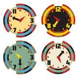 Σύνολο ρολογιών χρώματος Σύγχρονο σχέδιο ρολογιών προσώπου Διανυσματικό illu eps10 Στοκ Φωτογραφίες