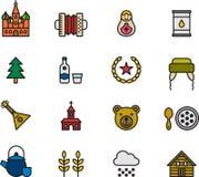 Σύνολο ρωσικών σχετικών εικονιδίων Στοκ Φωτογραφία