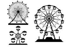 Σύνολο ρόδας Ferris σκιαγραφιών από το λούνα παρκ, απεικονίσεις Στοκ φωτογραφία με δικαίωμα ελεύθερης χρήσης