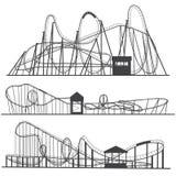 Σύνολο ρόλερ κόστερ σκιαγραφιών Rollercoaster ή λούνα παρκ κύλινδροι που απομονώνονται στο άσπρο υπόβαθρο διανυσματική απεικόνιση