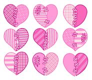 Σύνολο ρόδινων διανυσματικών καρδιών περικοπών Εικόνα για τη ευχετήρια κάρτα για την ημέρα βαλεντίνων ` s Στοκ φωτογραφία με δικαίωμα ελεύθερης χρήσης