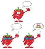 Σύνολο 2 σειράς χαρακτήρα μασκότ κινούμενων σχεδίων φρούτων φραουλών Συλλογή απεικόνιση αποθεμάτων