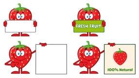 Σύνολο 3 σειράς χαρακτήρα μασκότ κινούμενων σχεδίων φρούτων φραουλών Συλλογή απεικόνιση αποθεμάτων