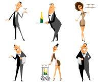 Σύνολο σερβιτόρων και σερβιτορών διανυσματική απεικόνιση