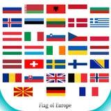 Σύνολο σημαιών Ευρώπης Στοκ Εικόνες