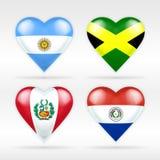 Σύνολο σημαιών καρδιών της Αργεντινής, της Τζαμάικας, του Περού και της Παραγουάης αμερικανικών κρατών Στοκ Εικόνες