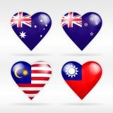 Σύνολο σημαιών καρδιών της Αυστραλίας, της Νέας Ζηλανδίας, της Μαλαισίας και της Ταϊβάν εθνικών κρατών Στοκ εικόνα με δικαίωμα ελεύθερης χρήσης