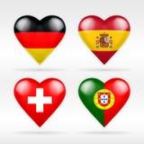 Σύνολο σημαιών καρδιών της Γερμανίας, της Ισπανίας, της Ελβετίας και της Πορτογαλίας ευρωπαϊκών κρατών Στοκ Φωτογραφία