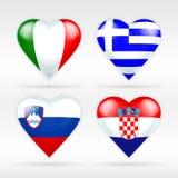 Σύνολο σημαιών καρδιών της Ιταλίας, της Ελλάδας, της Σλοβενίας και της Κροατίας ευρωπαϊκών κρατών Στοκ Φωτογραφίες