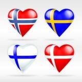 Σύνολο σημαιών καρδιών της Νορβηγίας, της Σουηδίας, της Φινλανδίας και της Δανίας ευρωπαϊκών κρατών Στοκ Εικόνα