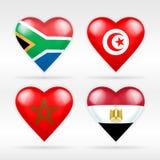 Σύνολο σημαιών καρδιών της Νότιας Αφρικής, της Τυνησίας, του Μαρόκου και της Αιγύπτου ασιατικών κρατών Στοκ Φωτογραφίες