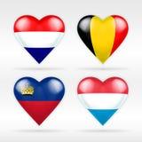 Σύνολο σημαιών καρδιών των Κάτω Χωρών, του Βελγίου, Lichtenstein και του Λουξεμβούργου ευρωπαϊκών κρατών Στοκ εικόνα με δικαίωμα ελεύθερης χρήσης