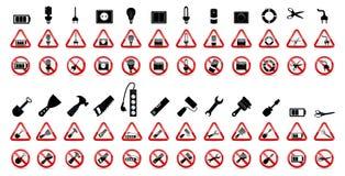 Σύνολο σημαδιών απαγόρευσης. Διανυσματική απεικόνιση Στοκ Εικόνα