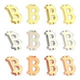 Σύνολο σημαδιών νομίσματος Bitcoin που απομονώνεται Στοκ Εικόνες