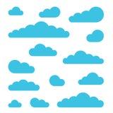 Σύνολο σημαδιών σύννεφων Σύμβολα για τη διανυσματική απεικόνιση πρόγνωσης καιρού στο επίπεδο ύφος σχεδίου Στοκ φωτογραφία με δικαίωμα ελεύθερης χρήσης