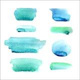 Σύνολο σημείων watercolor στα μπλε και πράσινα χρώματα που απομονώνονται στο άσπρο υπόβαθρο Διανυσματική συλλογή απεικόνιση αποθεμάτων