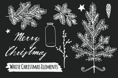 Σύνολο σκίτσων κιμωλίας Χριστουγέννων, συρμένα χέρι αντικείμενα διανυσματική απεικόνιση