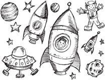 Σύνολο σκίτσων μακρινού διαστήματος Στοκ φωτογραφία με δικαίωμα ελεύθερης χρήσης