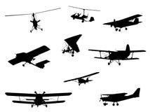 Σύνολο σκιαγραφιών αεροπλάνων Στοκ Εικόνα