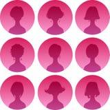 Σύνολο σκιαγραφιών γυναικών hairstyle Στοκ Φωτογραφία