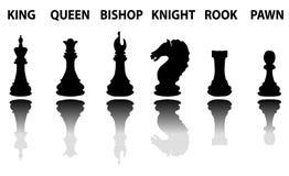 Σύνολο σκιαγραφιών κομματιών σκακιού Στοκ Φωτογραφίες