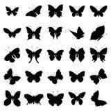 Σύνολο σκιαγραφιών πεταλούδων Στοκ Εικόνες