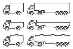 Σύνολο σκιαγραφιών τα φορτηγά φορτίου Στοκ εικόνα με δικαίωμα ελεύθερης χρήσης
