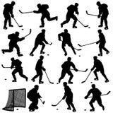 Σύνολο σκιαγραφιών του παίκτη χόκεϋ. Απομονωμένος επάνω Στοκ Φωτογραφίες