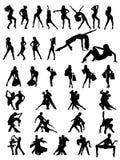 Σύνολο σκιαγραφιών του χορεύοντας ζεύγους και των κοριτσιών. Στοκ Εικόνες