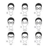 Σύνολο σκιαγραφιών των διάφορων τύπων eyeglasses θεαμάτων Στοκ Εικόνα
