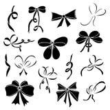 Σύνολο σκιαγραφιών των τόξων και των κορδελλών σατέν μαύρα Στοκ Εικόνα