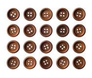 Σύνολο σκοτεινών καφετιών ξύλινων κουμπιών Στοκ Εικόνα