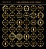 Σύνολο σκοτεινών χρυσός-πλαισιωμένων στοιχείων σχεδίου Στοκ εικόνα με δικαίωμα ελεύθερης χρήσης