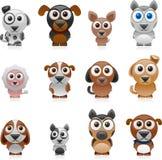 Σύνολο σκυλιών κινούμενων σχεδίων ελεύθερη απεικόνιση δικαιώματος