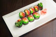Σύνολο σουσιών, ιαπωνικά τρόφιμα Στοκ Φωτογραφίες